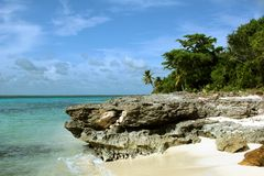Large stone Saona Island Dominican Republic Stock Photography