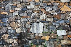 Stone wall with different sized stones. Large stone wall with different sized stones arranged beautifully together Stock Images