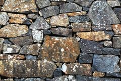 Stone wall with different sized stones. Large stone wall with different sized stones arranged beautifully together Royalty Free Stock Images