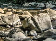 Large stones, boulders and boulders in the Bode near Thale, as places for rest, contemplation and meditation.  royalty free stock image