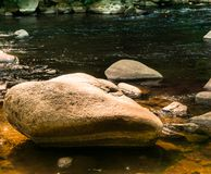 Large stones, boulders and boulders in the Bode near Thale, as places for rest, contemplation and meditation.  royalty free stock photos