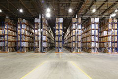 Large storage room with shelves Stock Image