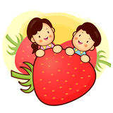 Large Strawberry and Family Mascot. Home and Family Character De Royalty Free Stock Image