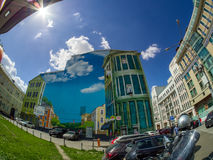 Large street art painting billboard representing fictitious  cityscape. MOSCOW, RUSSIA - MAY 25, 2017: Large street art painting billboard representing Stock Photo