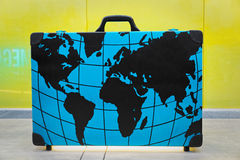 Large suitcase for all routes in the world Royalty Free Stock Images