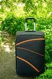 A large suitcase on wheels standing on a path near the green vegetation. Travelling black suitcase on the road near bushes and grass Royalty Free Stock Photos
