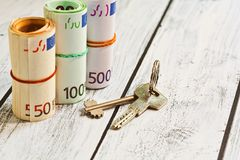 Rental payment or estate purchasing concept Stock Photo