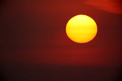 Large sun setting Stock Image