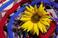 Large sunflower on mandala Royalty Free Stock Photo