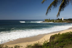 Large surf at Waimea bay, North Shore of O'ahu, Hawaii Royalty Free Stock Photo