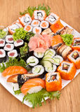 Large Sushi Place on a White Square Plate Stock Image