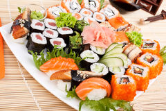 Large Sushi Place on a White Square Plate Royalty Free Stock Photos