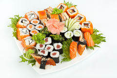 Large Sushi Place on a White Square Plate Stock Photos