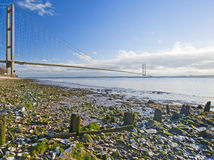 Large suspension bridge over a river Royalty Free Stock Images