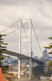 Large suspension bridge support structure Stock Photography
