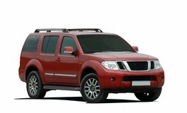 Large SUV. Red large SUV on a white background Royalty Free Stock Image