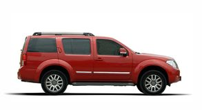 Large SUV. Red large SUV on a white background Stock Photography