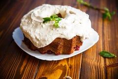 Large sweet honey cake with cream Royalty Free Stock Photo