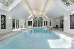 Large swimming pool in luxury home Royalty Free Stock Photo