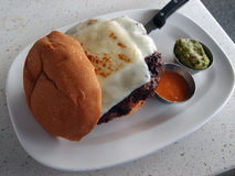 Large Swiss Cheese Hamburger with guacamole, and hot sauce sides Royalty Free Stock Images