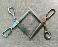 two scissors for fabric stock photography
