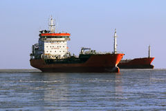 Large tanker in the queue for loading of oil in icy sea Stock Photo