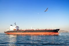 Large Tanker Ship. On route to Bosporus Royalty Free Stock Image