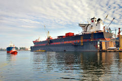 A large tanker ship is being renovated in shipyard Gdansk, Poland. Royalty Free Stock Photo