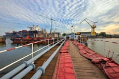 A large tanker ship is being renovated in shipyard Gdansk, Poland. Stock Image