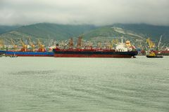 Large tankers call at the port Stock Photo