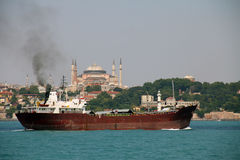Large tankers passing through the Istanbul Strait Stock Images