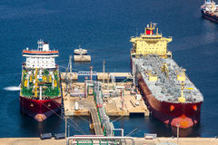 Large tankers unloading crude oil Royalty Free Stock Photography