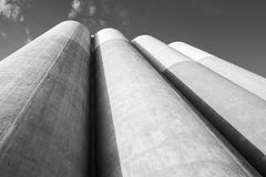 Large tanks made of concrete for storage of bulk materials Stock Image