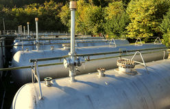 Large tanks of a methane gas storage for energy supply. Very large tanks of a methane gas storage for energy supply Stock Photography
