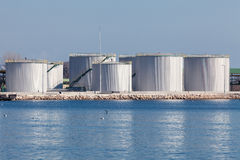 Large tanks for petrol and oil, blue sky Royalty Free Stock Photography