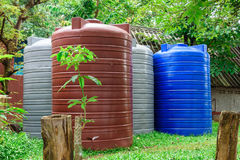 Large Tanks plastic large water liquid storage containers. Royalty Free Stock Photography