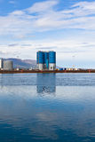 Large tanks at sea commercial dock in North Iceland Royalty Free Stock Image