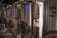Large tanks where flavorful beers are made,Zeta Brewery,Jacksonville Beach,Florida,2015 Stock Image