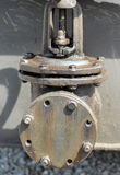 Large tap on transformer pipe Stock Image