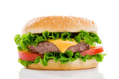 Large tasty hamburger Stock Images