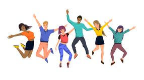 Large Team Of Happy Jumping People royalty free illustration