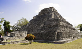 Large Temple, Mayan Ruins near Costa Maya Mexico. Chacchoben is the site a a large collection on Mayan pyramid ruins dating from 200 BC located in the Mexican Royalty Free Stock Image