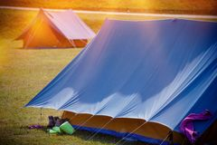 Large Tents on a Camping Royalty Free Stock Photo