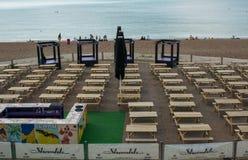 Terrace bar on Brighton beach, Sussex, England Royalty Free Stock Photo
