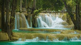 Large terraced waterfall - Khouang Si Waterfall close up, Laos Stock Photo