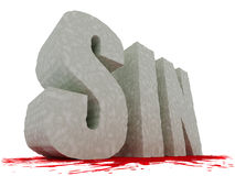 Large textured SIN text with blood underneath vector illustration
