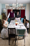 Large Thanksgiving Dinner Turkey Family Prays Stock Photo
