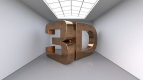 Large three-dimensional copper letters. The inscription 3D. Large white room. 3d illustration. Large three-dimensional copper letters. The inscription 3D. Large Stock Photography