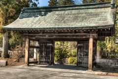 Japanese temple entryway in Nikko Japan stock photography