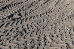 Large Tire Tracks in Sand Stock Photos